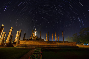 The Stars night of startails with Sukhothai Historical Park