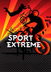 sport extreme bicycle jumping with grunge vector