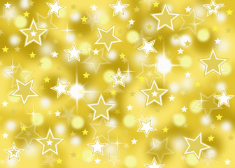 Abstract gold star bokeh celebration background with sparkles