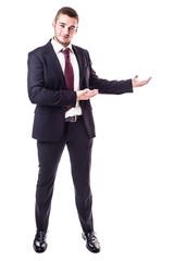 businessman showing something