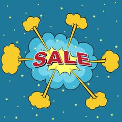 Sale comic bubble speech, vector format
