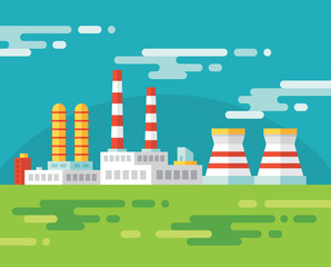 Industrial factory building - illustration in flat design style