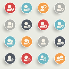 Users icons with color buttons on gray background.