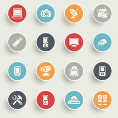 Electronics icons with color buttons on gray background.