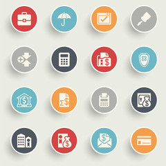 Banking icons with color buttons on gray background.