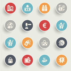 Commerce icons with color buttons on gray background.