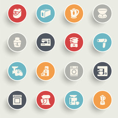Home appliances icons with color buttons on gray background.