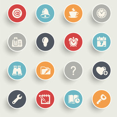 Organizer icons with color buttons on gray background.
