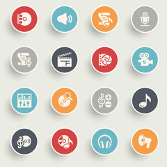 Audio video icons with color buttons on gray background.