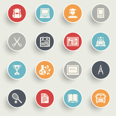 Education icons with color buttons on gray background.
