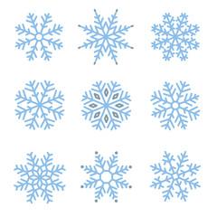 Various winter snowflakes set