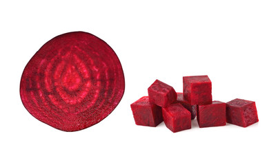 Beetroot cube and slice isolated on white background
