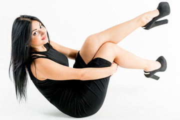 Young photo model and white background