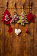 Christmas decorations handmade on wood background