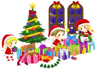 Cute little elves are celebrating Christmas in isolated backgrou