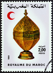 Red Crescent and Octagonal brass container (Morocco 1984)