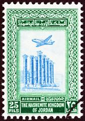 Temple of Artemis, Jerash and airplane (Jordan 1954)