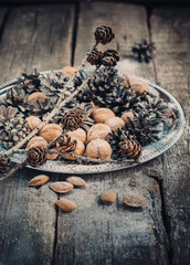 Christmas Tray with Pine cones and Nuts. Toned vintage effect
