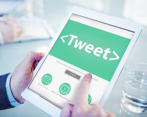 Digital Online Social Media Networking Tweet Concept