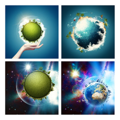 Abstract environmental backgrounds set with Earth globe for your