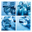 Set of assorted backgrounds with ice cube and water droplets