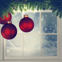 Christmas decorations against window, grungy holidays background
