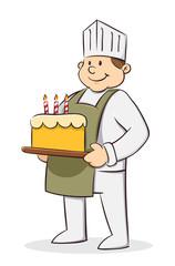 Chef holding birthday cake