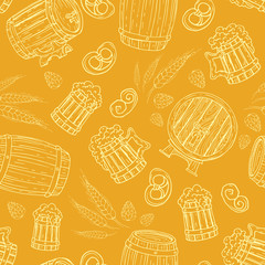 Vector pattern with beer mugs and barrels