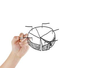 man hand drawing graph