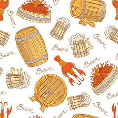 Vector pattern with beer mugs, barrels and crayfish