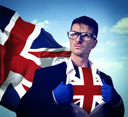 Superhero Businessman UK Cloudscape Concept