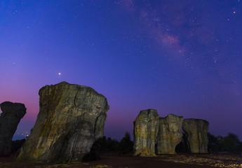Milky Way and stone pillars