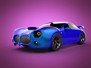 blue luxury brandless sport car on pink background