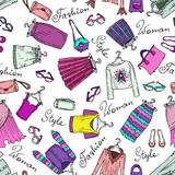 Vector pattern with fashionable women's clothes