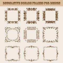 Set of square frames for design
