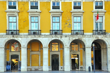 Traditional yellow house in Lisbon, Portugal