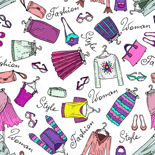 Vector pattern with fashionable women's clothes - 73645875