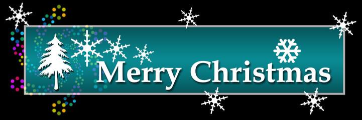 Merry Christmas Bright Colorful Black Horizontal