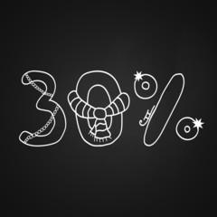 Christmas sale symbol for 30% discount on the chalkboard
