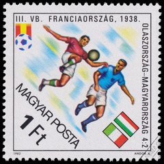 "Stamp printed in Hungary shows the ""World Cup Football Champions"