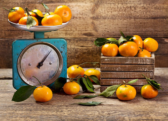 fresh tangerines with leafs