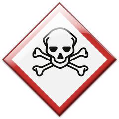Button Patch Schild GHS Gefahrzeichen Lebensgefahr