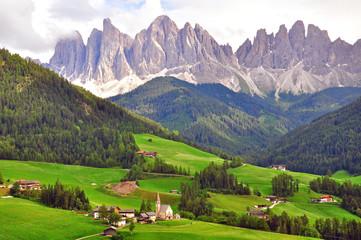 Church under mountains