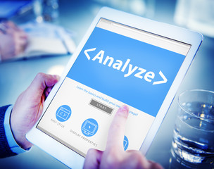 Digital Online Analyze Plan Research Working Concept