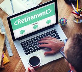 Digital Online Retirement Pension Office Working Concept