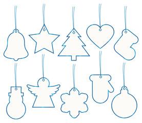 Set 10 Christmas Hangtags Blue