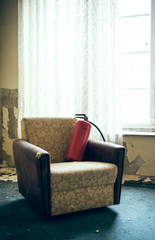 Fire extinguishers in armchair