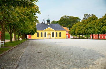 The church and adjacent prison in Kastellet, Copenhagen.
