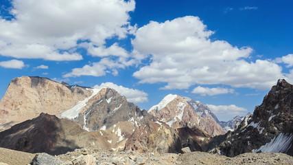 Clouds in the mountains. Panorama. Time Lapse. Pamir, Tajikistan