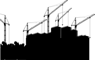large black house and five cranes in building